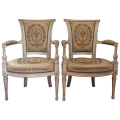 Pair of Directoire Style Fauteuils with Matching Ottoman