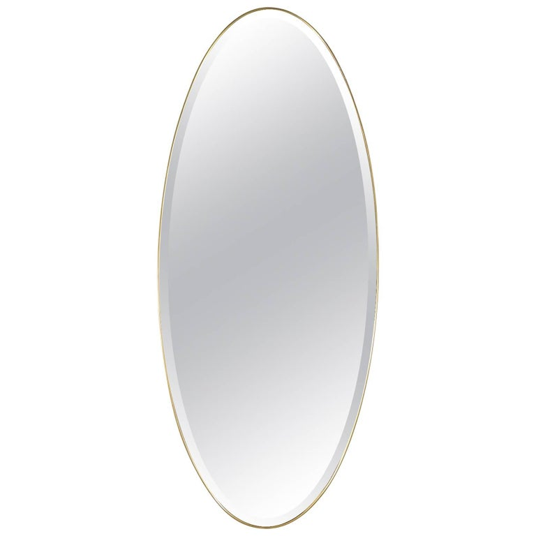 Midcentury Italian Modern Bevelled Mirror with Brass Frame For Sale