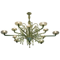 Large Venini with Murano Glass Chandelier, 1930s