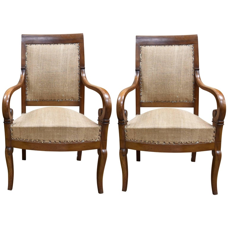 Pair of 19th Century French Empire Style Walnut Armchairs