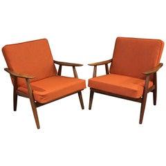 Pair of Rare GE270 Armchairs by Hans J Wegner for GETAMA