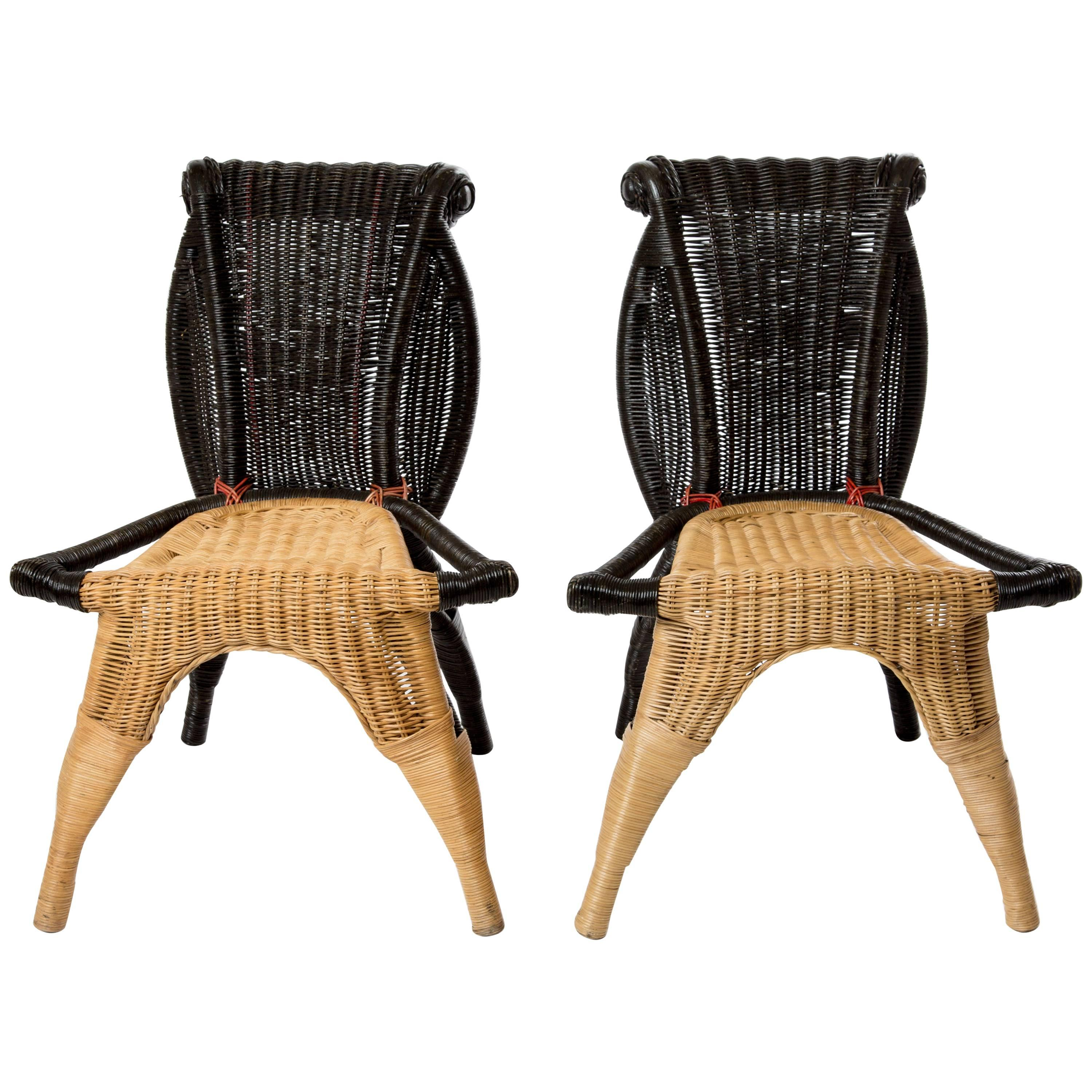 Two Helena Borek Sipek Rattan Chairs For Scarabas For Sale