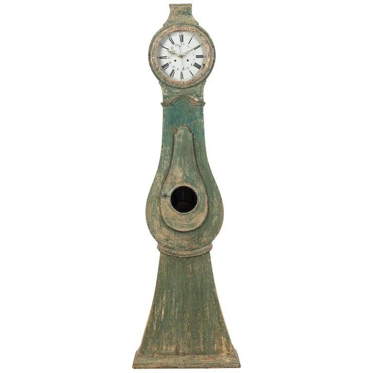 18th Century Swedish Rococo Long Case Clock with Original Paint