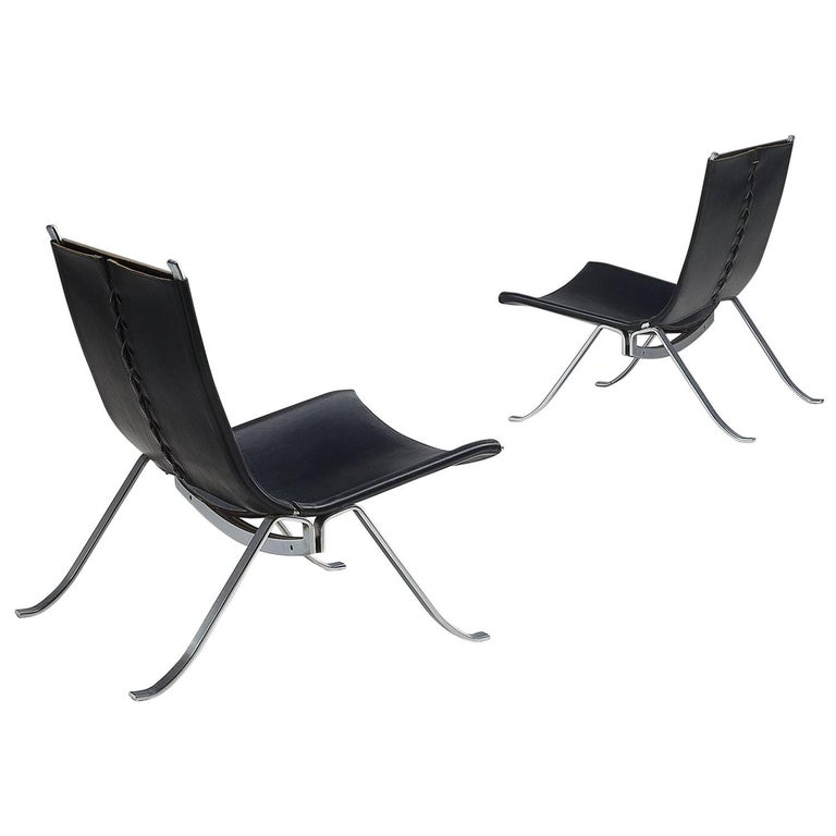 Preben Fabricius Set of Two Easy Chairs in Black Leather