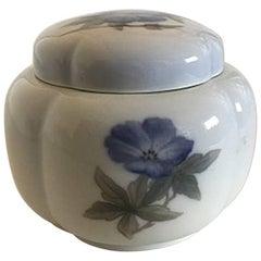 Royal Copenhagen Lidded Jar #1763/424 with Blue Flower Motif