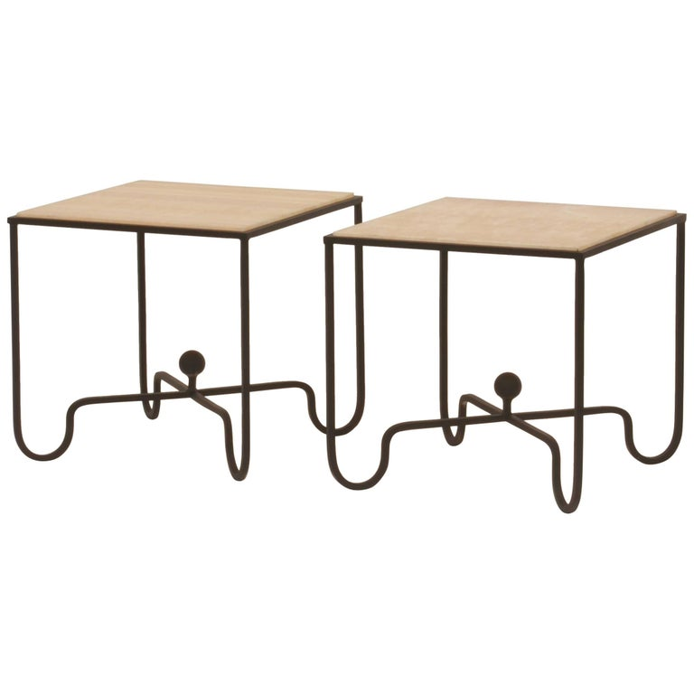 Pair of 'Entretoise' Wrought Iron and Onyx Side Tables by Design Frères For Sale