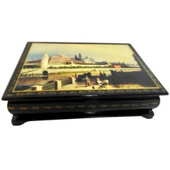 Waterfront at the Kremlin on a Russian Lacquer Box
