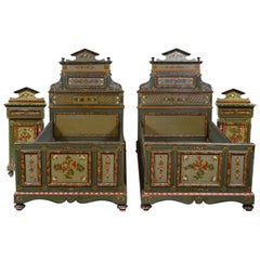 Superb French Late 19th Century Pair of Twin Bed Steads and Bedside Cupboards