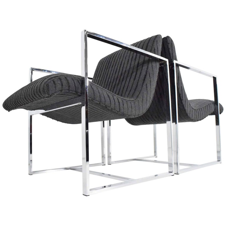 Milo Baughman Scoop Lounge Chairs For Sale