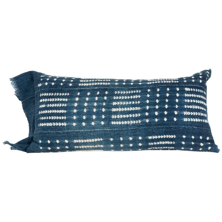 Indigo Dyed African Cotton Pillow/Bohlster For Sale