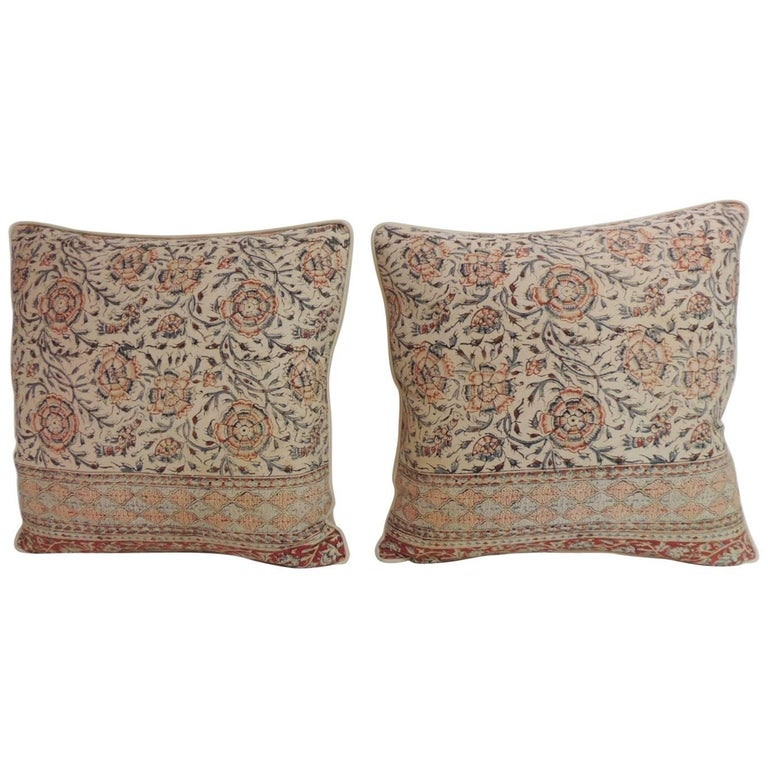 Decorative Pillows Vintage : Pair of Antique Indian Kalamkari Hand-Blocked Floral Decorative Pillows For Sale at 1stdibs