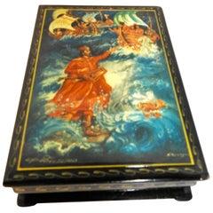 Russian Lacquer Box Featuring Poseidon Scene