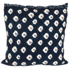 Large Pillow Made from Vintage Indigo Textile