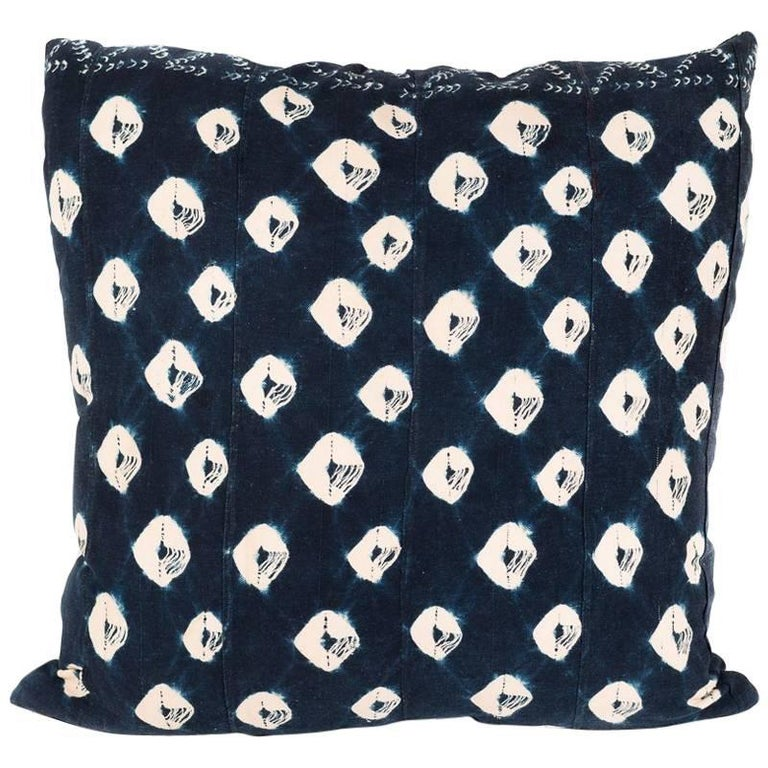 Large Pillow Made from Vintage Indigo Textile For Sale