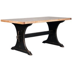 Tall Maple Dining Table Made from Reclaimed Box Car Flooring