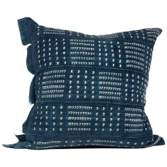 Large Pillow Made from Vintage African Indigo Textile