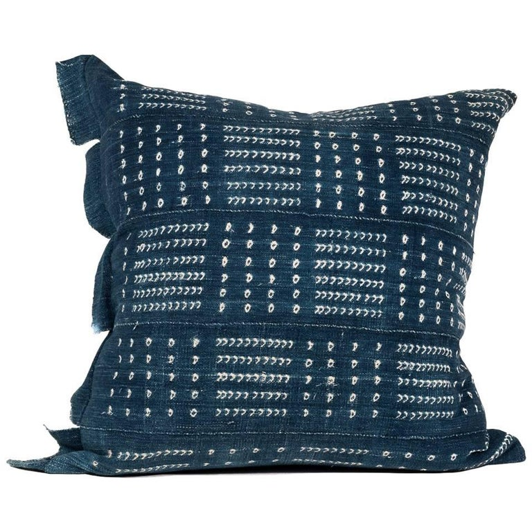 Large Pillow Made from Vintage African Indigo Textile For Sale