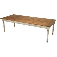 Country French Style Pine Farm Table with a Painted Base