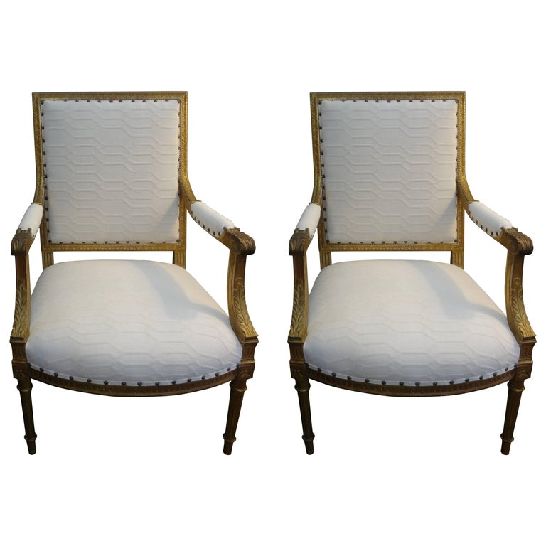Pair of 19th Century French Louis XVI Style Gilt Wood Chairs