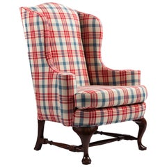 Queen Anne Style Mahogany Wingback Chair