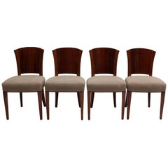 Set of Four Fine French Art Deco Walnut Chairs by Dominique