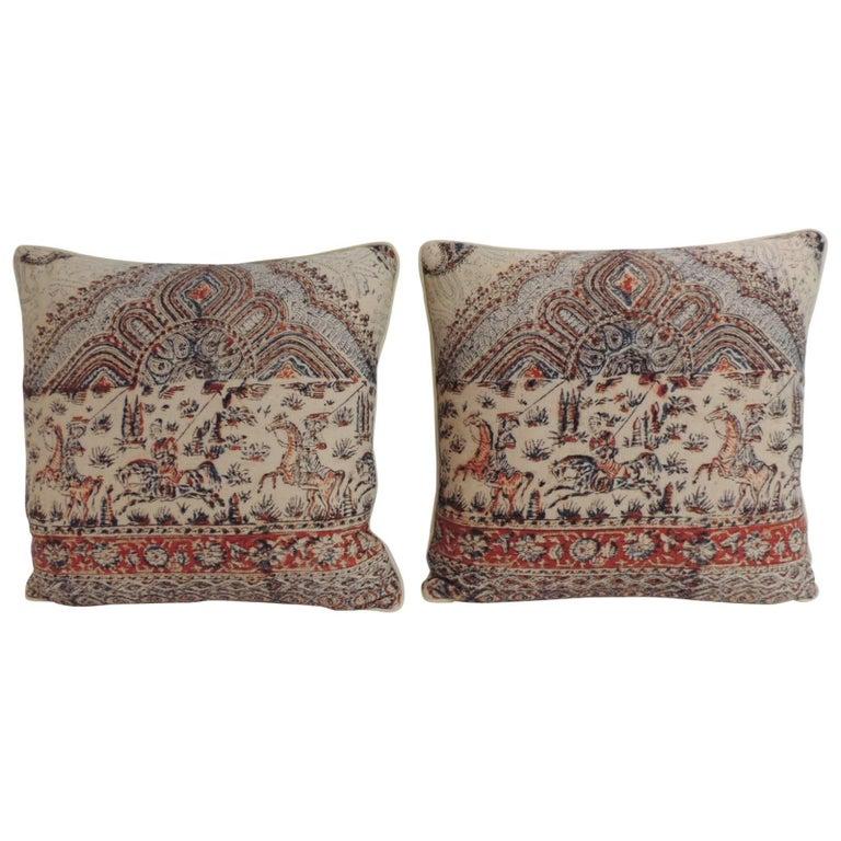 Pair of Antique Indian Kalamkari Hand-Blocked Floral Decorative Pillows