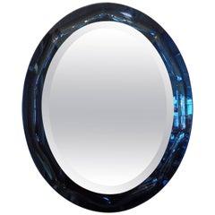 Italian Fontana Arte Style Blue Oval Mirror