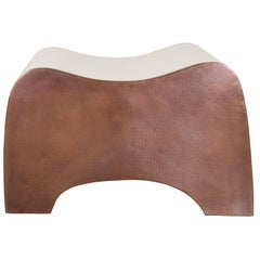Indented Seat, Cream Lacquer and Copper by Robert Kuo, Limited Edition