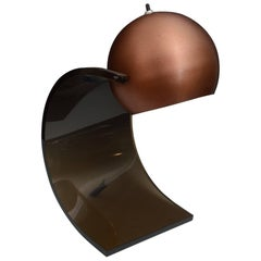 Robert Sonneman Copper and Smoked Lucite Desk Lamp