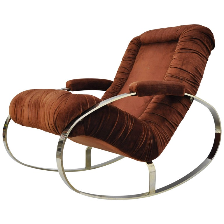 Mid Century Modern Guido Faleschini Chrome & Brass Rocking Chair For Sale
