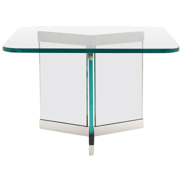 Tri-Base Glass Cocktail Table by Leon Rosen for Pace