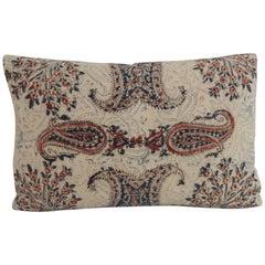 Antique Indian Kalamkari Hand-Blocked Stylized Paisley Decorative Lumbar Pillow