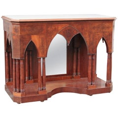 19th century Italian Gothic Revival or Troubadour Console with Marble Top