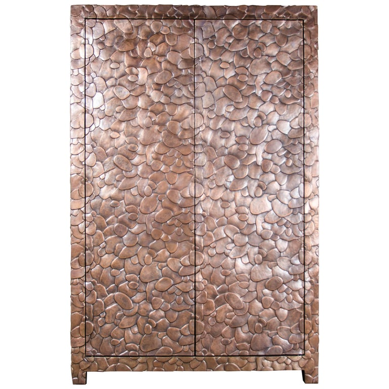 Isola Design Armoire, Copper by Robert Kuo, Limited Edition For Sale