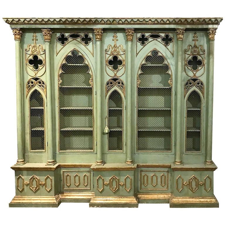 Antique Italian Gothic Revival Cabinet Bookcase For Sale