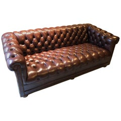 Brown Tufted Leather Chesterfield Sofa