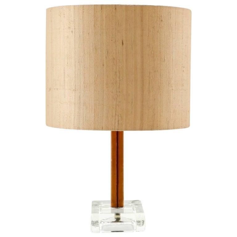Kalmar Table Lamp, Glass Leather Black Metal, 1960s