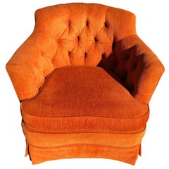 Hollywood Regency Tufted Orange Club Chair