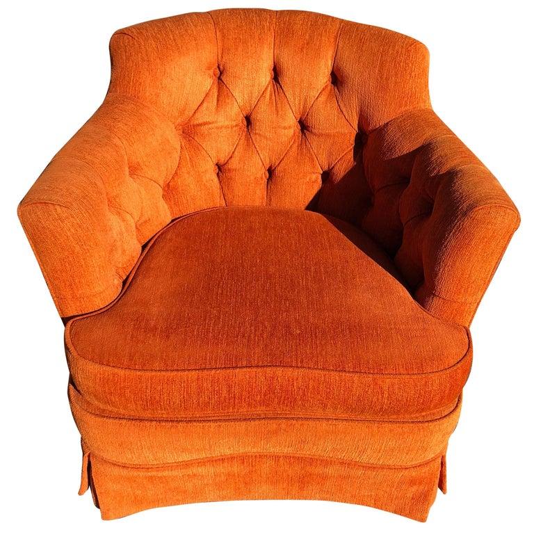 Hollywood Regency Tufted Orange Club Chair
