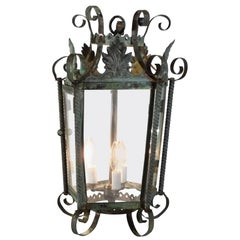 Antique French Hanging Lantern or Chandler