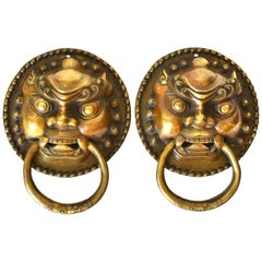 Large Brass Door Knockers, Guardian Motif