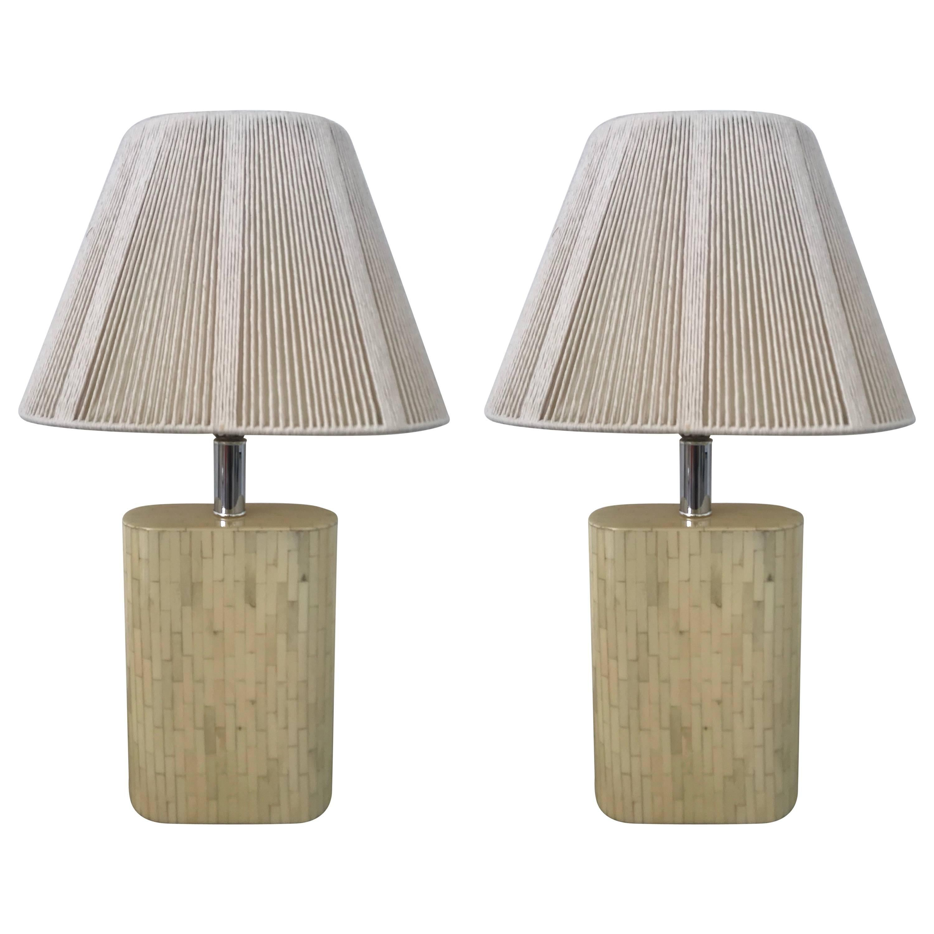 "Pair of ""Oval"" Tessellated Camel Bone Lamps"