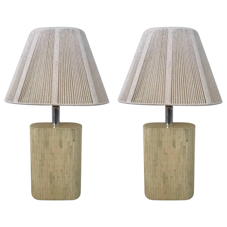 "Pair of ""Oval"" Tessellated Camel Bone Lamps For Sale"
