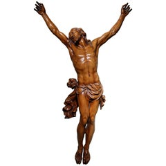 Large Christ on the Cross in Fruitwood, France, 18th Century
