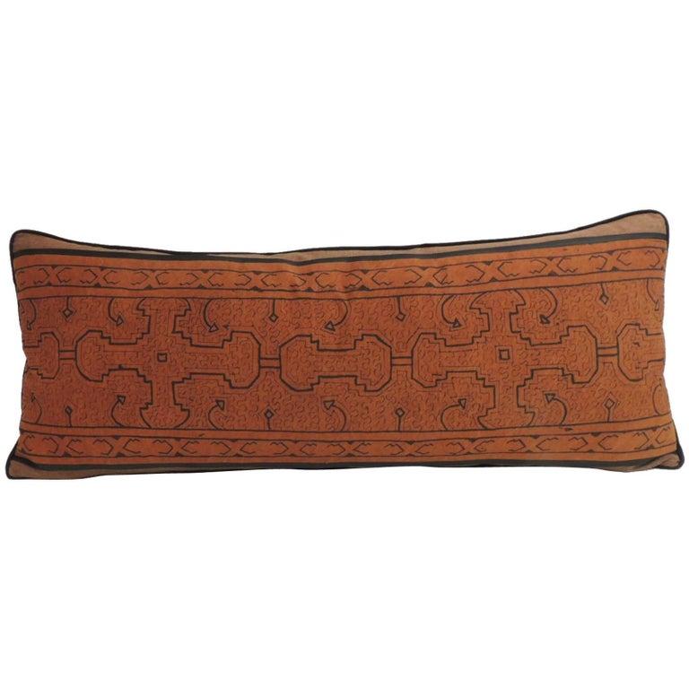 Decorative Bolster Pillow Black : Graphic Tribal Orange and Black Artisanal Textile Bolster Decorative Pillow For Sale at 1stdibs