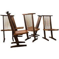 Set of Six Conoid Style Chairs in the Manner of George Nakashima