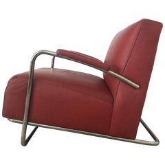 Art Deco Tubular Chrome and Red Leather Chair
