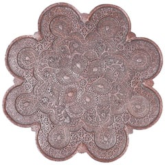 Kashmiri Copper Tray, Mounted for Hanging