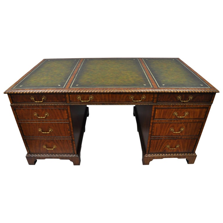 Maitland-Smith Mahogany Executive Partners Desk Green Tooled Leather Top