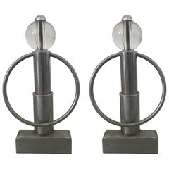 Pair of Art Deco Chrome and Glass Andirons